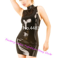 Latex Dress With Keyhole in Back Dress women lingerie set Sleeveless Skirt fantasy outfit sexy for Females Custom Made