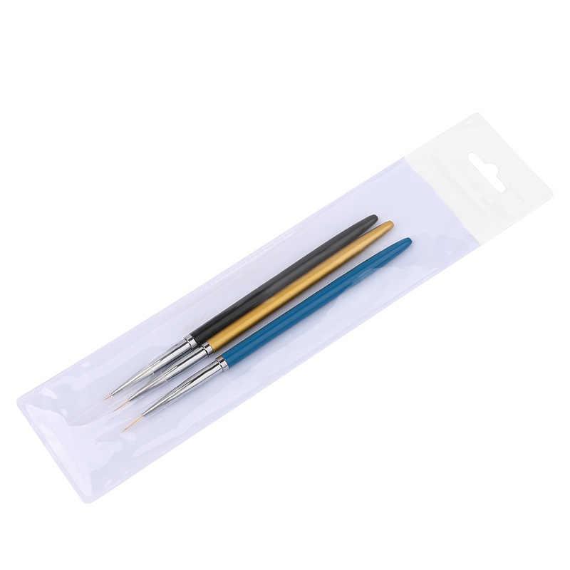 ขายร้อน 3pcs Nail Art แปรงปากกาจับโลหะสำหรับ UV เจลวาดภาพวาดซับแปรงเล็บเครื่องมือเครื่องมือทำเล็บมือ