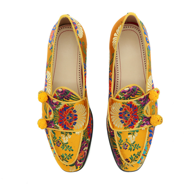 Ethnic Embroidery Flower Party Shoes Man Round Toes Flat Heel Slip-on Loafers Knitted Ball Belt Decor Spring Men Shoes 2