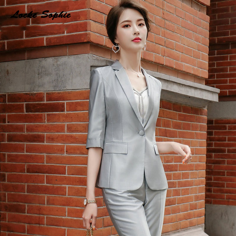 Womens Plus Size Blazers Coats 2020 Spring Cotton Middle Sleeve Button Splicing Suits Jackets Ladies Skinny Office Blazers Suits