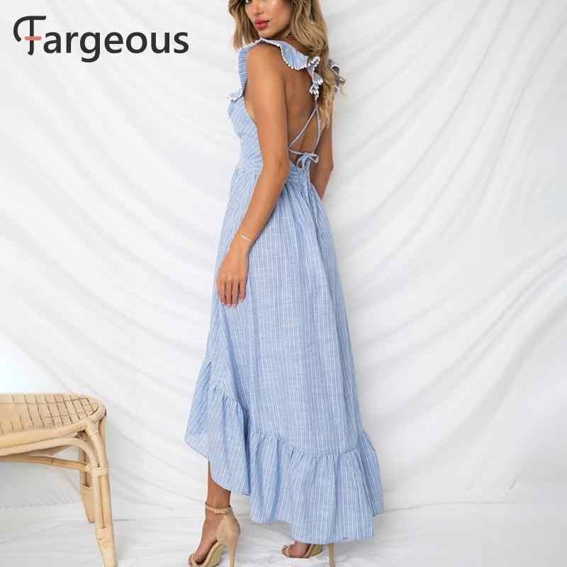 Bleu rayé robe d'été à volants Peplum longue robe 2019 femmes col en V dos nu Sexy robe Chic dos nu plage fête Vestidos
