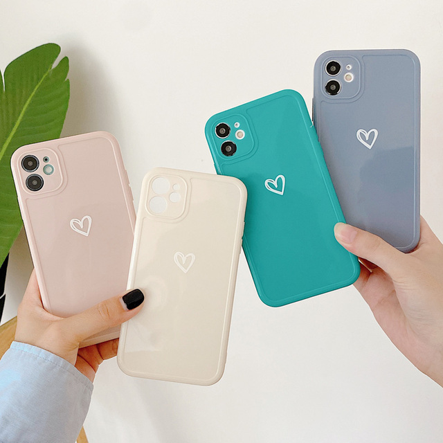 Love Heart Phone Case For iPhone 11 12 Pro Max 7 8 Plus X XR XS Max Candy Color Square Frame Back Cover For iPhone 7 8 Plus 5