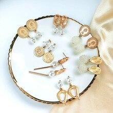 Vintage Elegant Gold Tone Queen Head Portrait Coin Faux Pearl Dangle Earrings For Women 2019 Matte Metal Geometric Earrings faux pearl dangle earrings