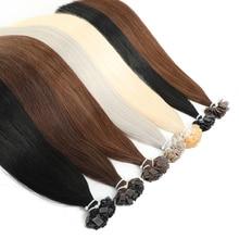 "MRSHAIR Pre Bonded Flat Tip Hair Extensions 14"" 18"" Machine Remy Hair Straight Capsules Keratin Fusion Hair Blonde"