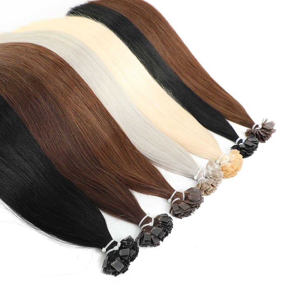 """MRSHAIR Pre Bonded płaska końcówka przedłużanie włosów 14 """"18"""" maszyna Remy włosy prosto kapsułki keratyny Fusion włosy blond"""