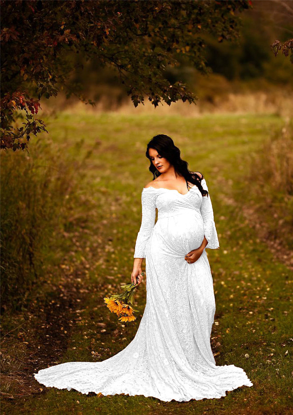 Long Maternity Dresses For Photo Shoot Sexy Lace Fancy Pregnancy Dresses Flare Sleeve Pregnant Women Maxi Gown Photography Props (17)