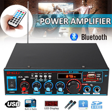 лучшая цена HIFI 2CH 800W Audio Power Amplifier 12/220V FM SD Mic Bluetooth Remote Control Stereo Amplifier for Theater Home Sound System