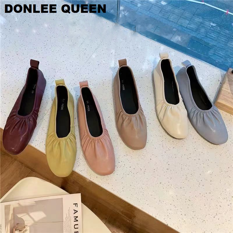 Women Ballet Flats Shoes Slip On Round Toe Ladies Casual Shoes Fashion Pleated Soft Loafer Shoe For Pregnant Woman Zapatos Mujer