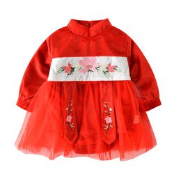 WLG baby girl rompers kids Chinese style thick red mesh fake two floral pattern romper new born girl casual clothes