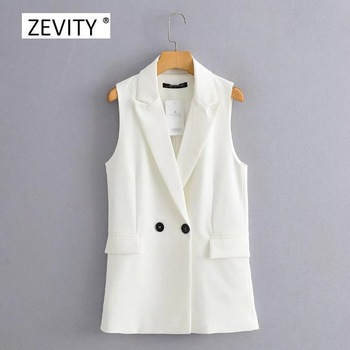 New 2020 Women simply sleeveless double breasted vest jacket office ladies wear casual suit waistCoat pockets outwear tops CT514 1