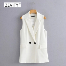 New 2020 Women simply sleeveless double breasted vest jacket office ladies wear casual suit waistCoat pockets outwear tops CT514
