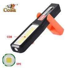 Coba Luz led de trabajo recargable por usb, lámpara de trabajo impermeable deformable magnética con batería integrada cob xpe con gancho de plástico