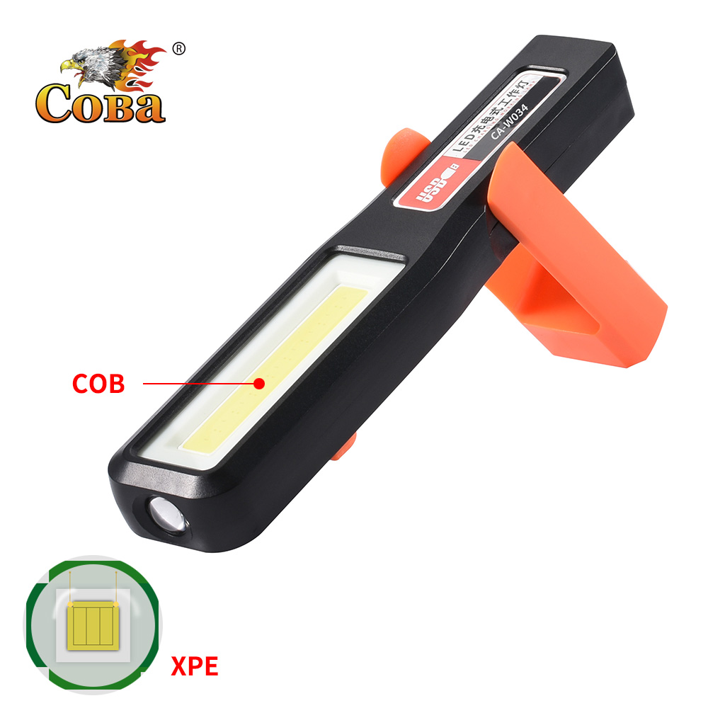 Coba Led Work Light Rechargeable Usb Built-in Battery Cob Xpe Light By Plastic Hook Magnetic Deformable Waterproof Work Lamp