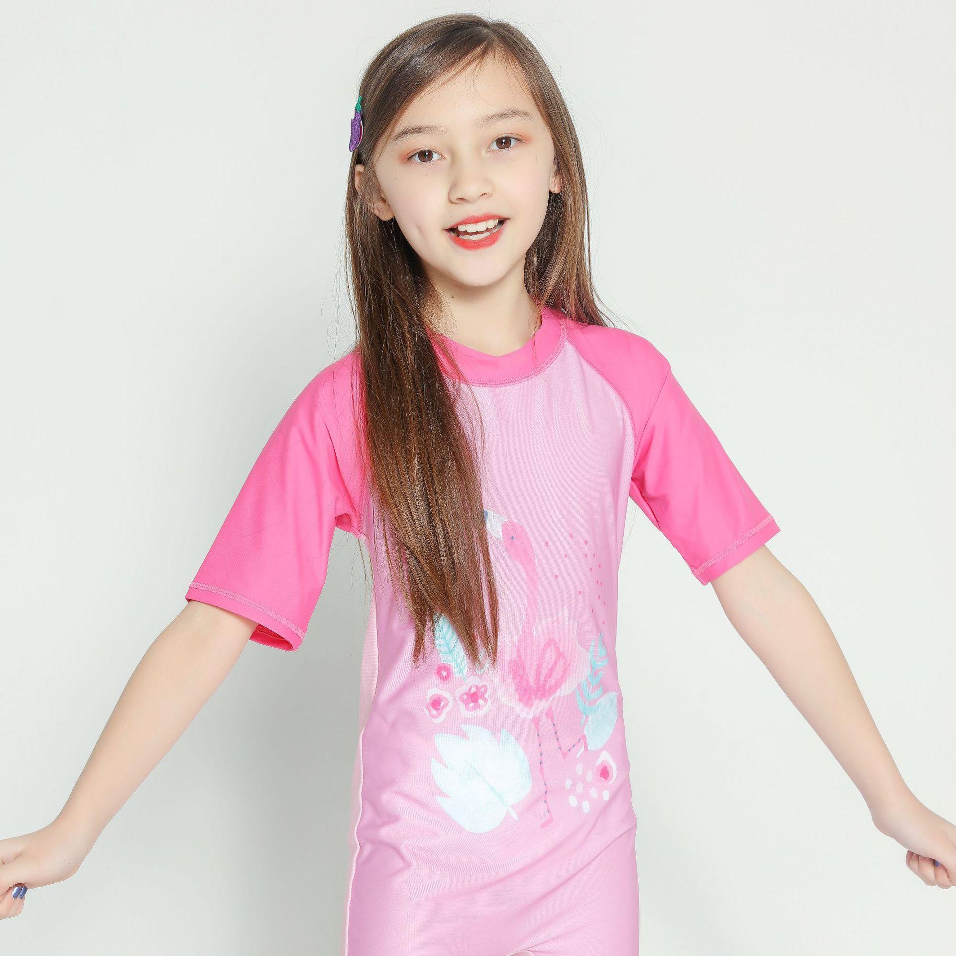 KID'S Swimwear Pink Cartoon Birds One-piece Girls Sun-resistant Europe And America Short Sleeve Siamese Swimsuit