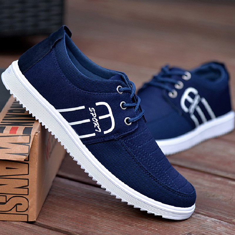 Discount 2019 New Breathable Men Shoes Casual Canvas Fashion Sneakers Oxfords Loafers Lace-Up Shallow Non-slip Outdoor