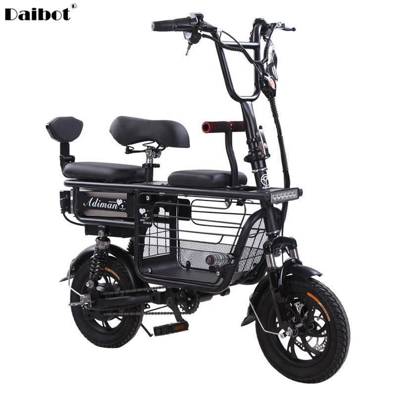 Daibot Electric Bike Bicycle Parent-child Two Wheels Electric Bicycles 48V 80KM Smart Portable Electric Scooter With Three Seats