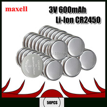 50pcs Genuine Maxell CR2450 CR 2450 3V Lithium Coin watch Key Fobs Battery Batteries For swatch watch For LEXUS Car Controller(China)