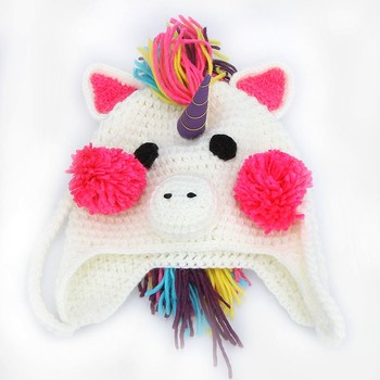 цена на Winter Autumn Knitted Hats Cartoon Acrylic Beanies Soft Warm Cap Accessories Knitted Hat Unicorn Toys For Kids Girl Children