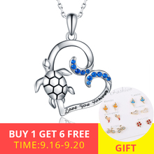 XiaoJing Genuine 925 Sterling Silver Turtle Blue CZ Tortoise Animal Necklace Fashion Jewelry for Women free shipping 2019 New