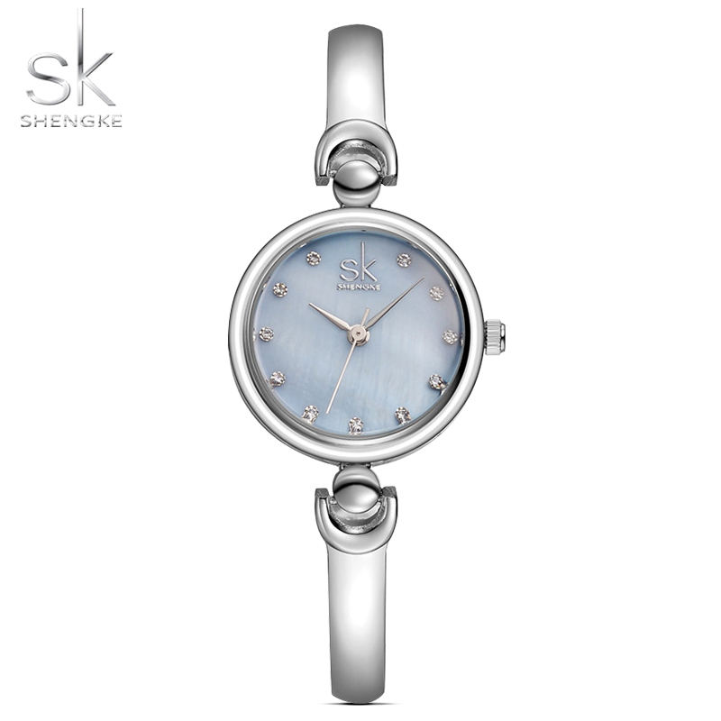 SHENGKE Reloj Mujer New Fashion Bracelet Wristwatches Slim Skeleton Strap Diamond Dial Quartz Watch Girls Ladies Watch