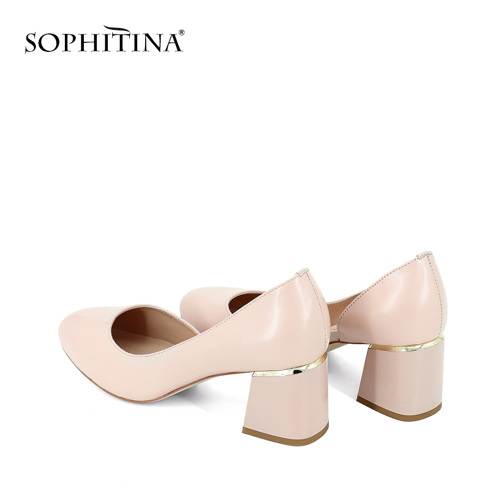 SOPHITINA Spring Autumn Round Toe Pumps Lady Comfortable Square Heels High Mature Office Shoes Woman Black Kid Suede Pumps SC183