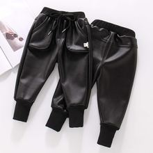 2021 черные зимние штаны карго из искусственной кожи детские