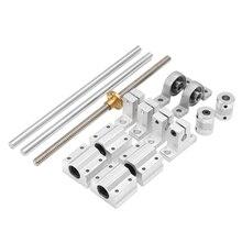 15Pcs 400Mm Optical Axis Guide Bearing Housings Linear Rail Shaft Support Screws Set cnbtr 5pcs 500mm 12mm perpendicular optical axis shaft support slide bushing