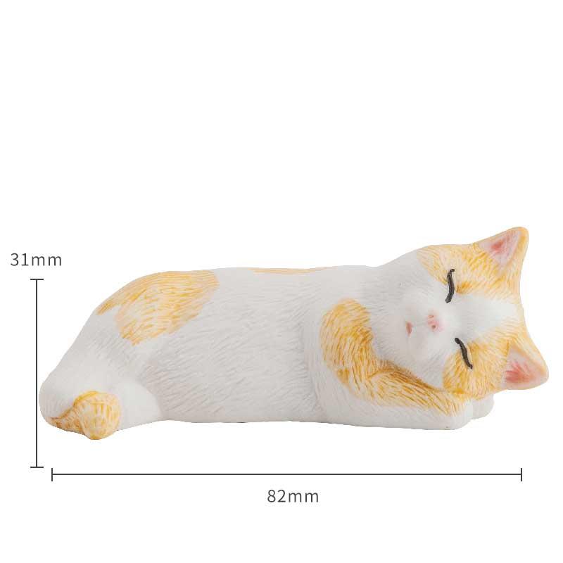 Miniature White Cat Animal Figurine Ceramic Handmade Collectible Craft Gift