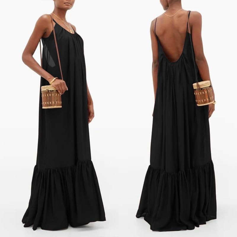 Women Spaghetti Strap Sundress ZANZEA 2020 Fashion Summer Backless Ruffle Dress Maxi Vestidos Female Casual Solid Robe Plus Size