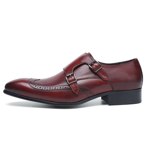 Image 3 - FELIX CHU High Quality Genuine Leather Men Formal Shoes Party Pointed Toe Dressy Wedding Burgundy Black Monk Strap Dress Shoes