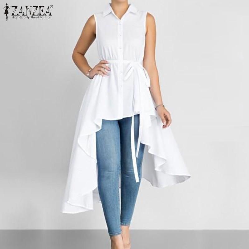 ZANZEA Women Asymmetrical Blouse Summer Casual Sleeveless Party Long Tops Ladies Office Shirts Vestido Tunic Plus Size Blusas 7
