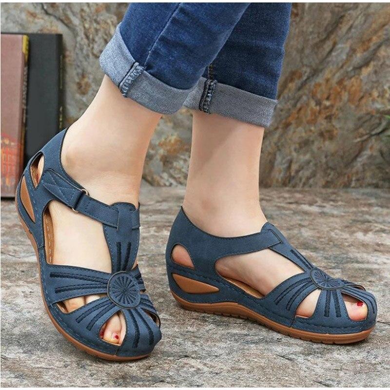 Vintage Leather Sandals Women Shoes Plus Size Women Sandals Summer Sandalias Non-slip Casual Platform Wedge Sandals Ladies Shoes