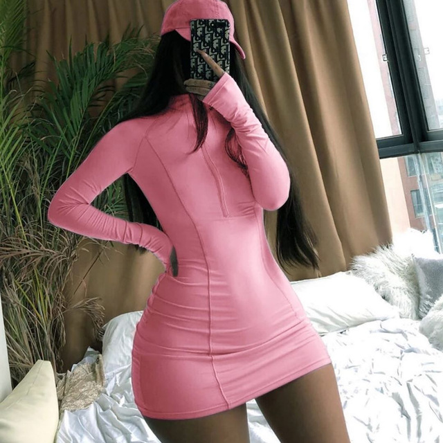 Bodycon Dress Women's Casual Sexy Printed Zipper Tight Dress Striped Club Party  V Neck Long Sleeve Women Dresses 2021 12