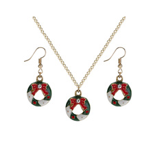 Hello Miss New Christmas bow garland earrings wind necklace set fashion decoration jewelry