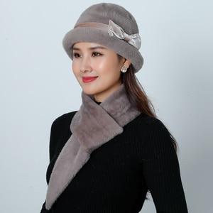 Image 3 - ใหม่หมวกฤดูหนาวหมวกชุดผู้หญิงอบอุ่นถัก Skullies ขนสัตว์กระต่าย Beanies สีทึบ Mink Plush Bow Baggy หมวก Headwear