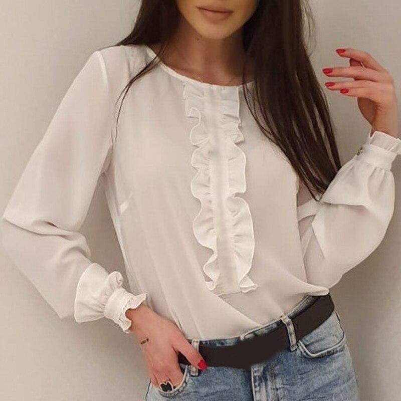 Chiffon Ruffle O-Neck Women's Blouse White Summer OL Fashion Long Sleeve Blouses Female 2020 Plus Size Casual Loose Tops Lady