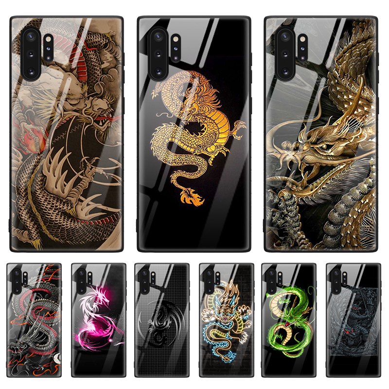 Tempered Glass Phone Case for Samsung Galaxy S8 S9 S10 S10E S105G Note 8 9 10 Plus 5G Shell Chinese Dragon image