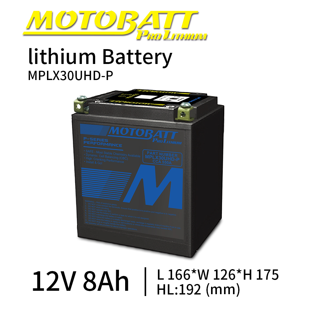 Motobatt MPLX30U-P Lithium ion LifePo4 <font><b>Battery</b></font> <font><b>12V</b></font> <font><b>8Ah</b></font> 550CCA Bateria Moto Universal Maintenance free 17mm Bottom Spacer image