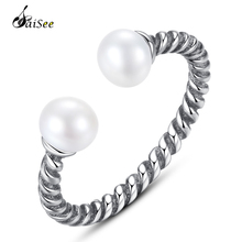 SaiSee Unique Engagement Jewelry 925 Sterling Silver Pearl Twisted Rope Of Love Open Finger Rings for Women Fashion Ring S925