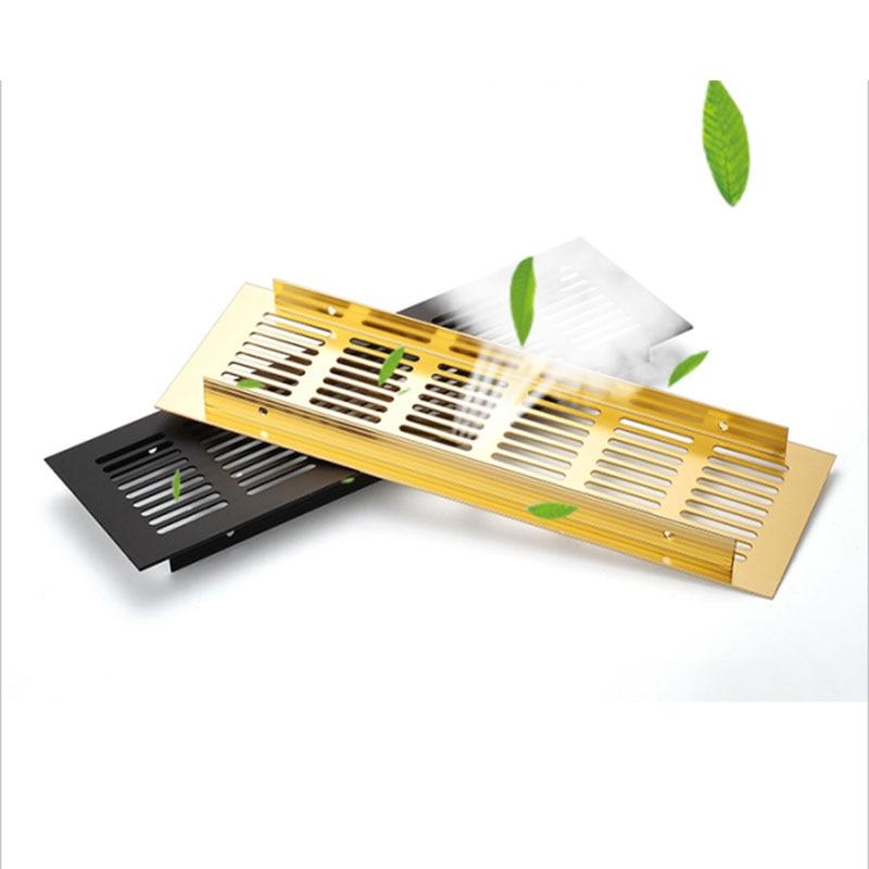 4Pcs/Lots 50mm 80mm Wide Aluminum Air Vent Ventilator Grille For Closet Shoe Cabinet Bathroom Gold Black White