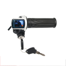 24V 36V 48V ebike twist throttle gas with LCD display and key lock for e-bike electric scooter accelerator ebike 24v 36v 48v kt led900s led display intelligent meter black control panel with 5 pins plug for kt controller