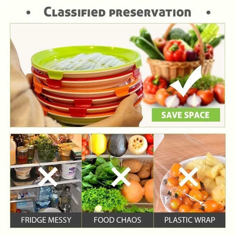 Round Clever Tray Creative Food Preservation Tray Plastic Food Storage Container Set Food Fresh Storage Dropshipping