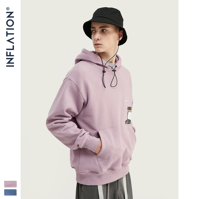 INFLATION FW 2020 Dropped Shoulders Men Hoodies In Pink And Blue With Letter Printing Oversized Men Design Autumn Hoodie 9615W
