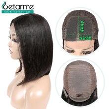 Parrucca di chiusura in pizzo 4x4 parrucca diritta peruviana Bob parrucca di chiusura in pizzo Glueless parrucche per capelli umani per donne nere parrucca Non Remy a basso Retio