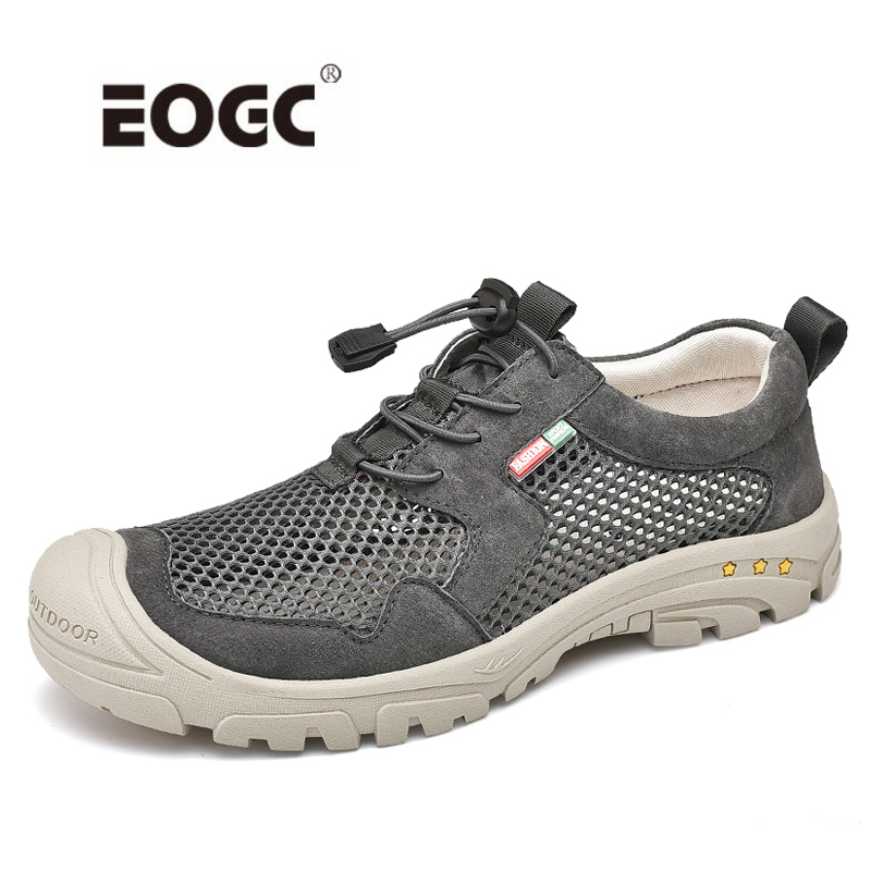 Plus Size Outdoor Mesh With Leather Sneakers Breathable Casual Shoes Men Comfortable Walking Shoes Flats Zapatillas Hombre