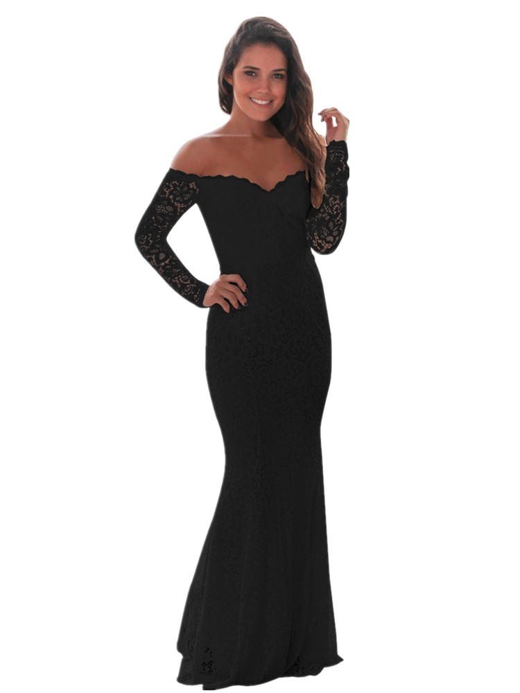 2020 Long   Cocktail     Dress   Elegant Lace Off-the-shoulder Evening Gown Long Sleeve Mermaid Sheath Formal   Dress