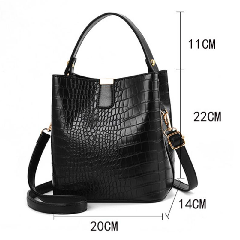 Retro Alligator Bucket Bags Women Crocodile Pattern Handbag Capacity Casual Crocodile Shoulder Messenger Bags Ladies PU Purse