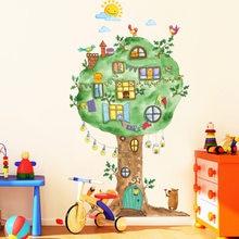 Autocollants muraux en vinyle 65x120cm, dessin animé, maison d'arbre, pour chambre d'enfants, maternelle, chambre de bébé, décoration murale, décor de maison, Stickers artistiques
