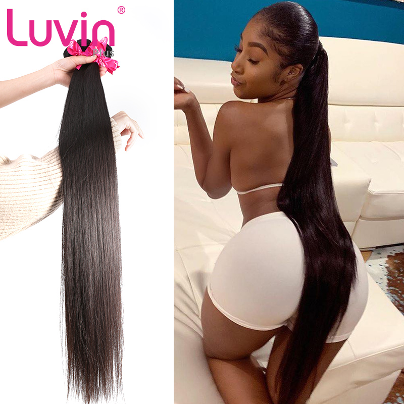 Luvin Hair Straight 8-40 30 28 Inch Brazilian Hair Weave 3 Bundles Deal Raw Virgin Hair Natural Color Double Drawn