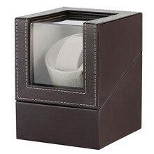 Коричневые кожаные коробки для хранения часов 1+ 0 держатель для встряхивания двигателя Роскошные автоматические часы коробка с подзаводом США/Великобритании/ЕС/AU Plug